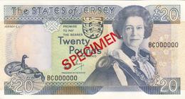 Jersey Banknote Twenty Pound (Pick 19s)  SPECIMEN Overprint Code BC - Superb UNC Condition - Jersey