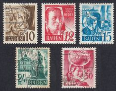BADEN - DEUTSCHLAND - ALLEMAGNE - GERMANIA - 1948 - Lotto Composto Da 5 Valori Obliterati: Yvert 16/20. - Zona Francese