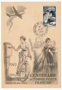 Carte Centenaire Du Timbre-poste Français 1949 - Timbre Expéditions Polaires Françaises Obl Paris 1er Juin 1949 - France