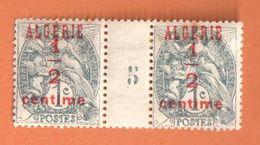 4186 ALGERIE Blanc Yv 1   1/2 C Sur 1c Gris Noir Millésime 5 Avec Charnière - Algérie (1924-1962)