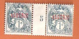 4187 ALGERIE Blanc Yv 2   1c Gris Noir Millésime 5 Avec Charnière - Algérie (1924-1962)