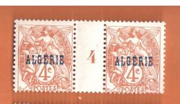4188 ALGERIE Blanc Yv 5   4c Brun Millésime 4 Avec Charnière - Algérie (1924-1962)