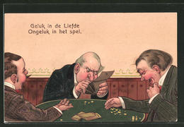 Präge-AK Geluk In De Liefde - Ongeluk In Het Spel, Kartenspieler, Scherz - Monnaies (représentations)
