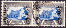 SOUTH AFRICA 1950 SG #O51 (horiz.pair) 10sh Official Used 19mm Between The Lines Of Opt. CV £250 - South Africa (...-1961)