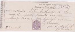 Traite - Quittances, Grande Bretagne Inland Revenue 1873 - Timbres Fiscal Postal - Royaume-Uni
