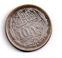 Argent - 10 Piastres De 1916- Voir état - Egypte