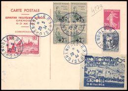 4273 France Entier Postal Stationery Carte Postale I3 + Complémént Jacquard 290 Le Puy Exposition Philatélique Grenoble  - Postal Stamped Stationery