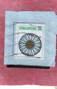 SINGAPORE SINGAPOUR 1973 FLORA FLOWERS Chrysanthemum FLOWER FIORE CRISANTEMIO FLEUR CENT. 25c USATOUSED OBLITERE' - Singapore (1959-...)