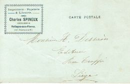 Carte Postal Publicitaire HOLLOGNE-AUX-PIERRES 1908 CHARLES SPINEUX Imprimerie-papeterie-librairie - Grâce-Hollogne