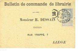 Armoiries Oblitération Simple Cercle 1908 HOOGSTRAETEN Sur CP Publicitaire H. DESSAIN éditeur à LIEGE - 1893-1907 Wappen