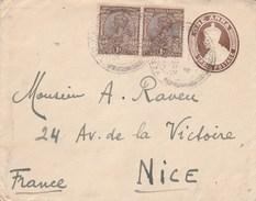 Inde Entier Postal Complément Affranchissement Yercaud  Pour Nice France - Enveloppes