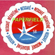 Exposition Universelle BRUXELLES 58- EXPO 58- Sous-tasse En Papier - NESCAFE Décaféïne - (sous-bock ??) - Vieux Papiers