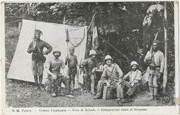 Congo Français Vers Le Tchad Campement Dans La Brousse  Jeuen Boy Tirailleurs Drapeau France - Congo - Brazzaville