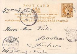 CEYLON - POSTCARD 1899 COLOMBO -> BAUTZEN/GERMANY - Ceylon (...-1947)