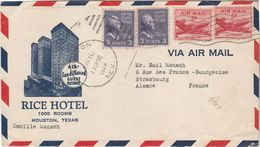 Enveloppe Par Avion 1948 / RICE HOTEL / Houston Texas / United States - Central America