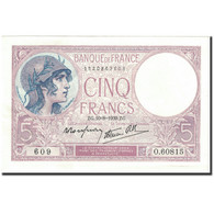 France, 5 Francs, 5 F 1917-1940 ''Violet'', 1939, 1939-08-10, KM:83, SPL - 1871-1952 Circulated During XXth