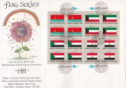 United Nations New York FDC 1981 Flagseries 16 Vals. - Ukraine, Kuwait, Sudan, Egypt (LAR7-10) - Covers