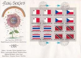United Nations New York FDC 1981 Flagseries 16 Vals. - Malta, Ceskoslovensko, Thailand, Trinidad & Tobago (LAR7-10) - Briefe