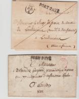 FP198 /  FRANKREICH - 2 Briefe, Paris 1824 + 1827, Pothion  2744 + 2751, Rot + Schwarz - Poststempel (Briefe)