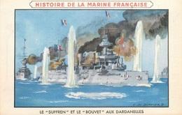 Carte Histoire De La Marine Française-Le Souffrent Et Le Bouvet Aux Dardanelles-Pub Au Dos     L2503 - History