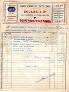 63- LA CHABANNE PAR CELLES- RARE FACTURE COLLAS & CIE- MANUFACTURE COUTELLERIE-COUTEAUX-1938 - Old Professions