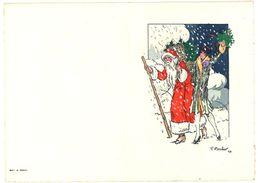 Beau Cartonné Dépliant ( Porte Menu ? ) Avec Père Noël & Femme Sous La Neige, Signé F. Boscher 27 - Menus