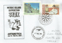 "Stamp ""Cantera De Moai.Rano Raraku"" On Letter ""Peter I Island Dxpedition 3YOX"", Year 2005 - Rapa Nui (Ile De Pâques)"