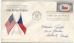 ESTADOS UNIDOS USA FDC 1943 BANDERA FLAG CHECOSLOVAQUIA - Sobres
