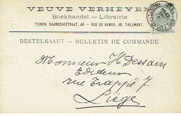 CP/PK Publicitaire TIENEN 1906 - VEUVE VERHEYEN - Boekhandel - Librairie à TIRLEMONT - Tienen