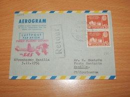 Denmark 1954 SAS First Flight Copenhagen-Manila__(L-7293) - Covers & Documents