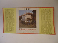 Calendrier 2 Semestres 1967 - Montfermeil Montreuil éboueurs Service Du Nettoiement - Calendari