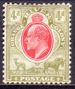 SOUTH AFRICA ORANGE FREE STATE 1903 SG #144 4d MH CV £38 Wmk Crown CA - South Africa (...-1961)