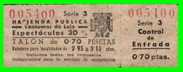 TIKET  HACIENDA PUBLICA ESPECTACULOS - Tickets - Entradas