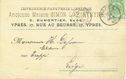 Postkaart Publicitaire  YPRES - IEPER 1910 - Header Ancienne Maison SIMON LAFONTEYNE C. DUMORTIER Opvolger - Ieper