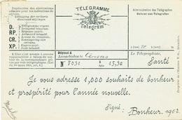 866/25 - Carte Représentant Un TELEGRAMME De Nouvel An - TP Armoiries ANVERS 1 Janvier 1902 - Telegraph