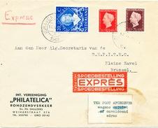 867/25 - Lettre EXPRES Pays Bas S' GRAVENHAGE 1949 Vers BRUSSEL - Etiquette Des Télégraphes TER POST AFGEGEVEN - Telegraph