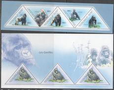 GUINEA, 2011, MNH, PRIMATES, GORILLAS,  2 SHEETLETS - Gorillas