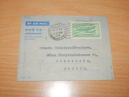 India 1958 Calcutta Aerogramme To Sweden__(L-7469) - Brieven En Documenten
