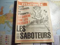 Minute N°1290 Du 24 Au 30 Décembre 1986 Après L'université, Les Transports ...la Gauche Tire Les Ficelles / Les Saboteur - Politique