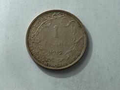 BELGIQUE 1 FRANC 1912 Argent Silver Frank - 07. 1 Franc
