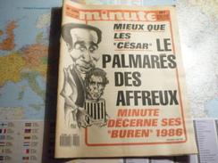 """Minute N°1291 Du 31 Décembre 1986 Au 6 Janvier 1987 Mieux Que Les """"César"""" Le Palmarès Des Affreux- Minute Décerne... - Politique"""