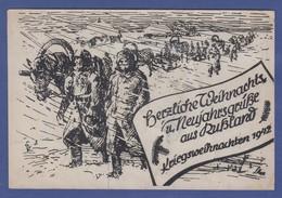 """Dt. Reich 1942 Feldpostkarte Aus Rußland """"Kriegsweihnachten 1942"""" Gel -> Italien - Occupation 1938-45"""