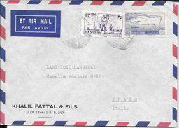 KHALIL FATTAL & FILS ALEP ALEPO SYRIE SYRIA SIRIA A LANIFICIO CANGIOLI PRATO ENVELOPPE CIRCULEE 1954 RARE - Syrië