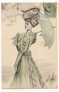 Belle Femme Signée L. Villarel La Parisienne Eté 1905 Ombrelle - Illustrateurs & Photographes