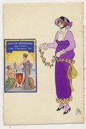 Belle Femme Signée Art Deco Avec Très Belle Vignette Exposition Internationale Lyon 1914 Peinte Main - Other Illustrators