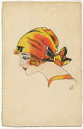 Superbe  Femme Signée Art Deco Profil Beau Plan - Other Illustrators