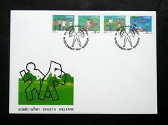 Thailand Stamp FDC 1991 Sports Welfare - Thailand