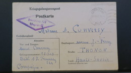 Carte Prisonnier De Guerre Frontstalag 122 Camp D'internement De Compiegne 1943 Pour Thonon Haute Savoie - Marcophilie (Lettres)