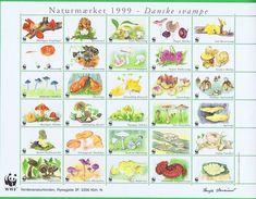 Denmark WWF 1999.  Sheet  With 30 Labels;  Danish Mushrooms - W.W.F.