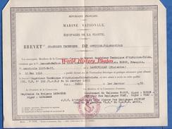Document Ancien Brevet Supérieur Technique Opticien Télémetriste François ROHOU Né à LANDIVISIAU - 1955 Marine Nationale - Boats